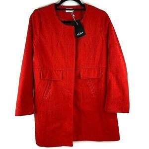Witchery Red Double Breasted Wool Blend Pea coat J